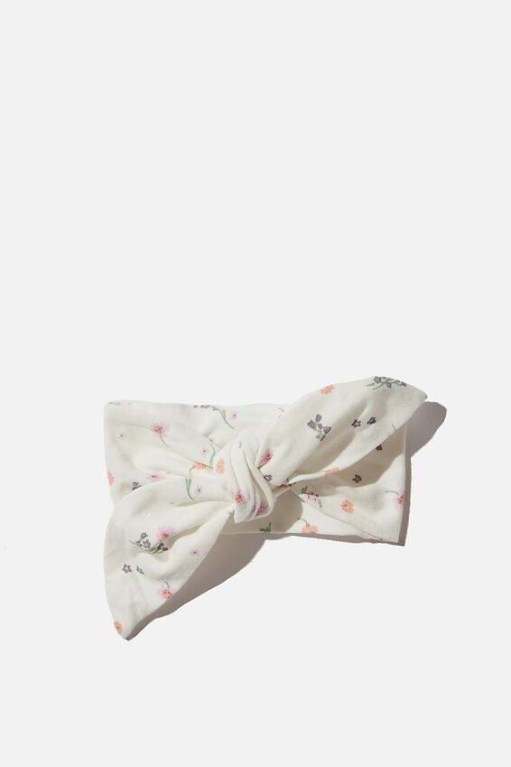 The Tie Headband, VANILLA/PALE VIOLET RACHAEL FLORAL