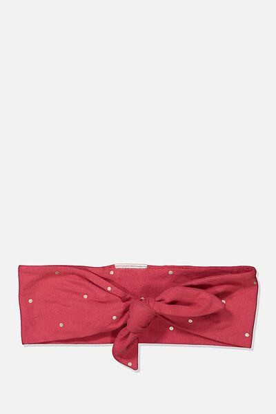 The Tie Headband, LUCKY RED/FOIL SPOT