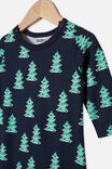 The Long Sleeve Snap Romper, NAVY BLAZER/CHRISTMAS TREES