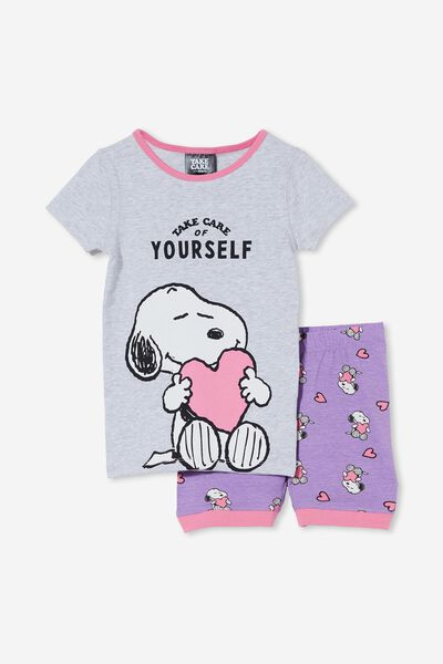 Nikki Short Sleeve Pyjama Set Licensed, LCN SNOOPY TAKE CARE OF YOURSELF/GRAPE SODA