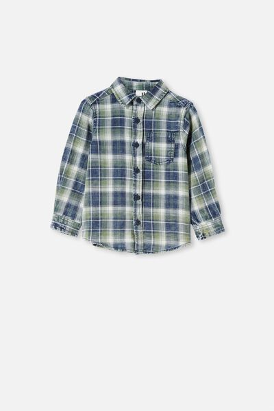 Rugged Long Sleeve Shirt, NAVY/VANILLA/SWAG GREEN PLAID CHECK