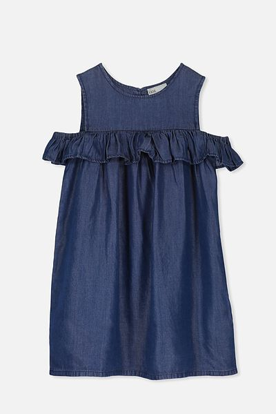 Immie Short Sleeve Dress, DARK BLUE WASH