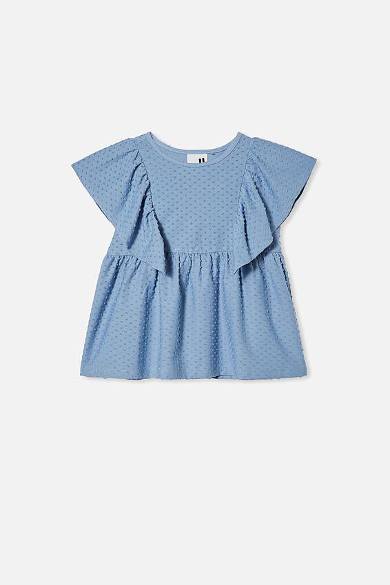 Francis Short Sleeve Frill Top, DUSTY BLUE