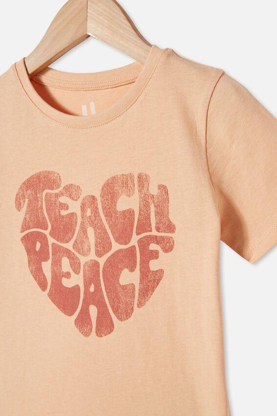 Penelope Short Sleeve Tee, PEACHY/TEACH PEACE