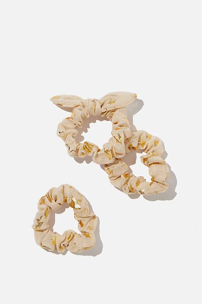 Mini Scrunchie, VANILLA GOLDY STARS