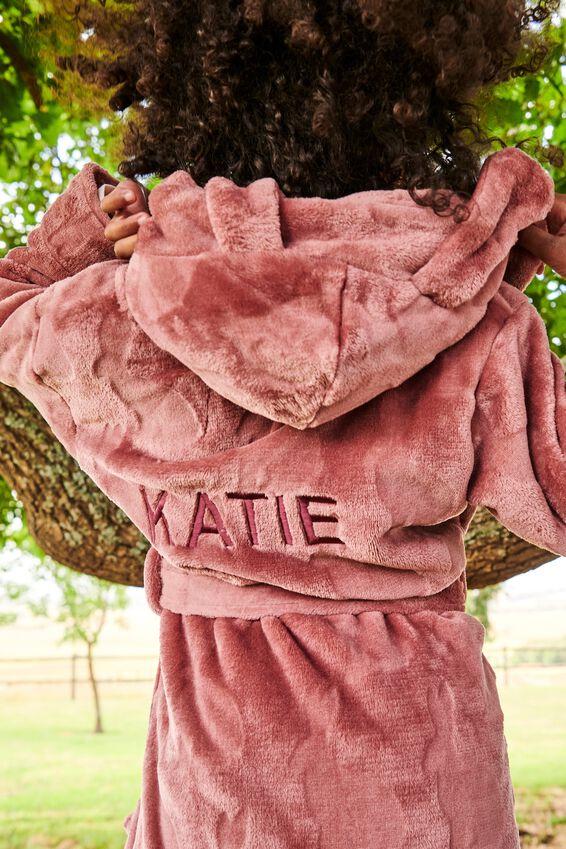 Girls Hooded Long Sleeve Gown Personalised, VERY BERRY