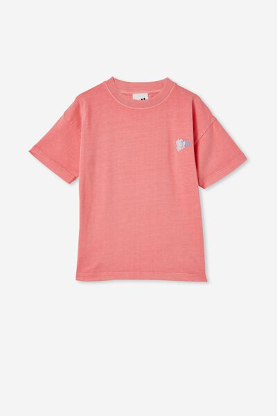 Scout Drop Shoulder Short Sleeve Tee, RETRO CORAL / FLOWER