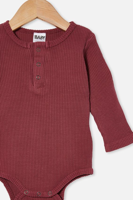 The Long Sleeve Waffle Bubbysuit, FADED BURGUNDY