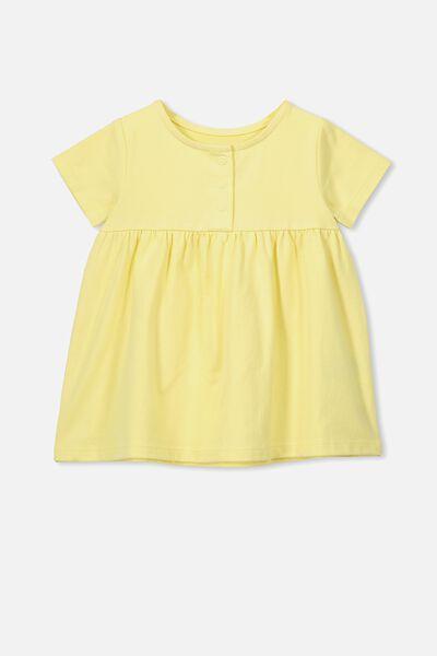 Milly Short Sleeve Dress, PASTEL LEMON