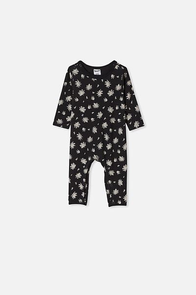 The Long Sleeve Snap Romper, BLACK/OLIVIA WHITE FLORAL