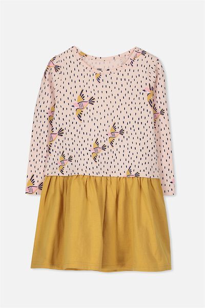 Carolin Long Sleeve Dress, SHELL PEACH/MARIGOLD/BIRDS