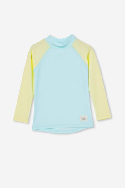 Flynn Long Sleeve Raglan Rash Vest, DREAM BLUE/DAISY CHAIN