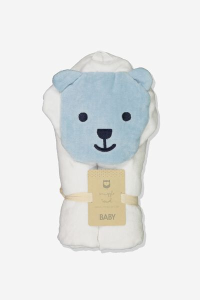 Baby Snuggle Towel, WHITE/GREY BEAR