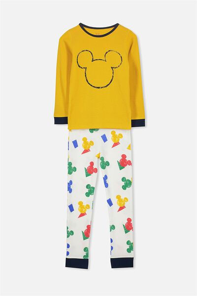 Tom Boys Long Sleeve Waffle Pajama Set, LCN MICKEY MOUSE/GOLDEN