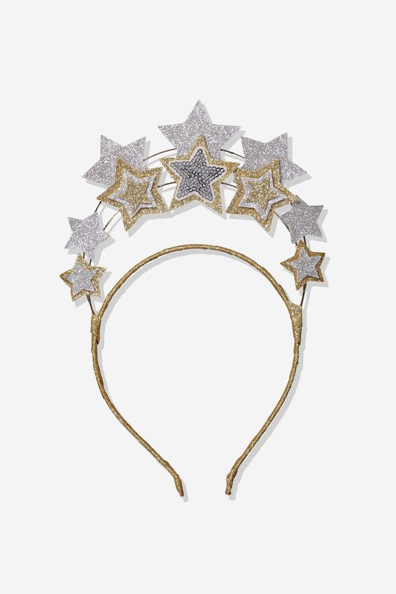 Dress Up Headband, GOLD WHITE STARS/HALO