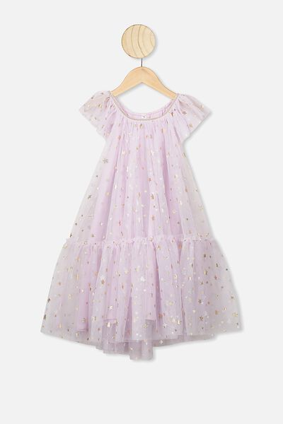 Iris Tulle Dress, LAVENDER FOG/STARS