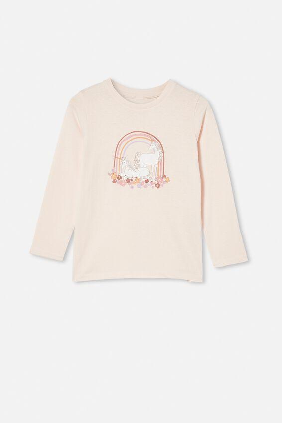 Penelope Long Sleeve Tee, CRYSTAL PINK/UNICORN GARDEN RAINBOW