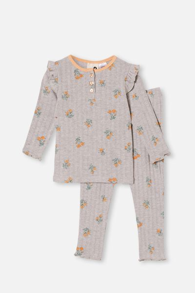 Layla Long Sleeve Pyjama Set, FLORAL SUMMER GREY MARLE