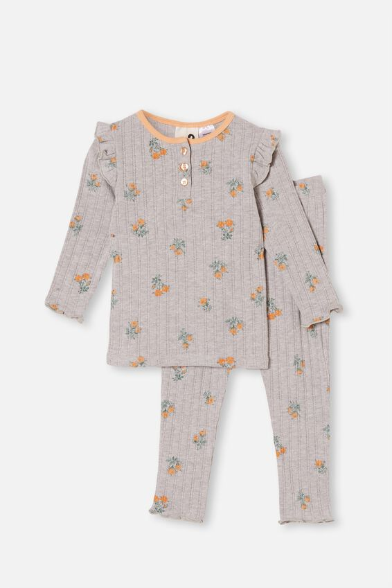 Layla Long Sleeve Pyjama Set, FLORAL SUMMER GREY MARLE