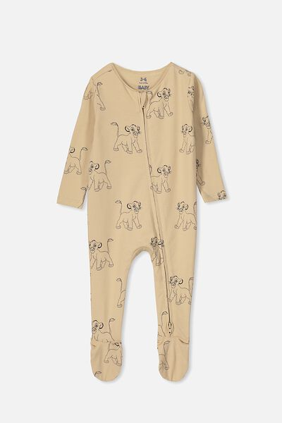 The Snug Long Sleeve Zip Romper, LCN DIS SEMOLINA/SIMBA