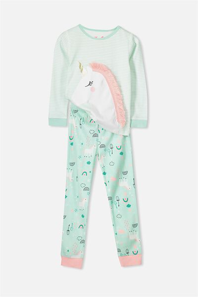 Alicia Long Sleeve Girls Pj Set, ITS RAINING UNICORNS