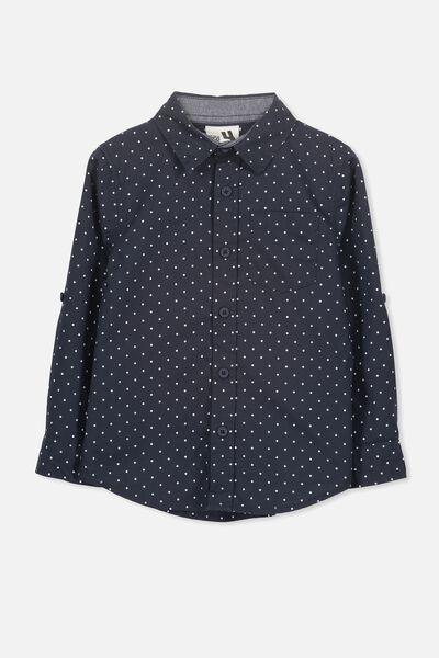 Noah Long Sleeve Shirt, NAVY SPOTS