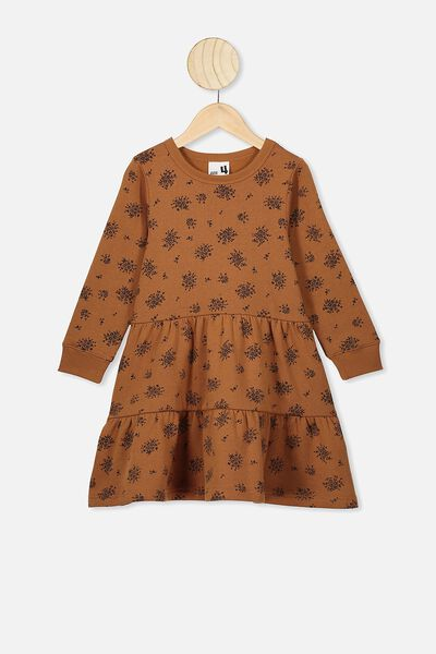 Angie Long Sleeve Dress, CARAMEL TOFFEE/POSEY FLORAL