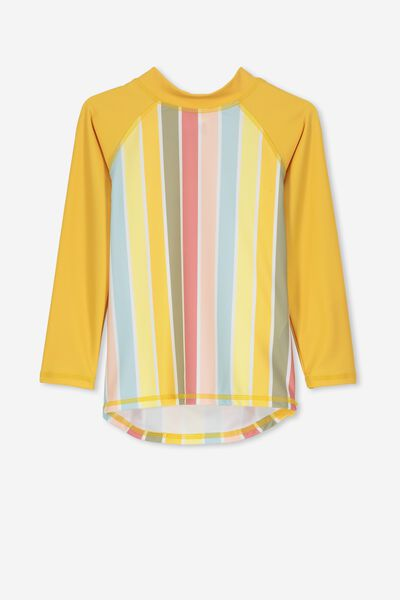 Hamilton Long Sleeve Rash Vest, SANDY YELLOW/MULTI COLOUR STRIPE