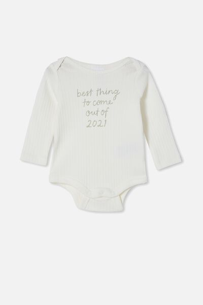 Organic Newborn Long Sleeve Bubbysuit, MILK/BEST THING TO COME OUT OF 2021