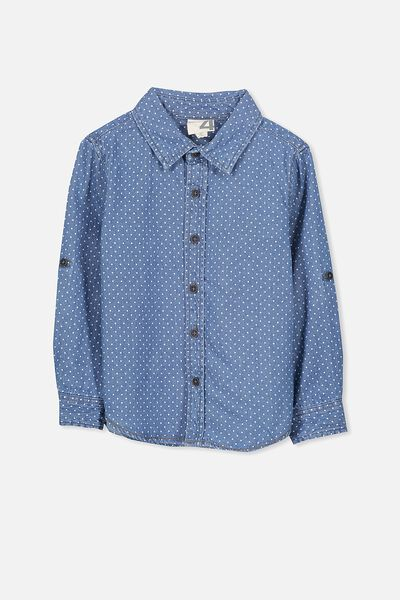 Noah Long Sleeve Shirt, DENIM/SPOT