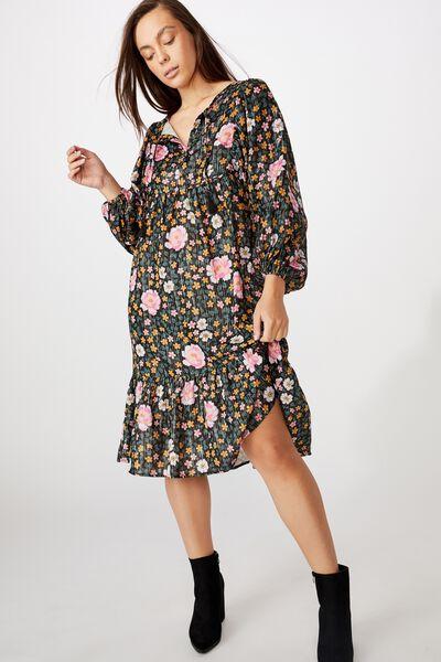 Mama Goldie Long Sleeve Dress, LCN KIP/DARK FOREST FLOOR