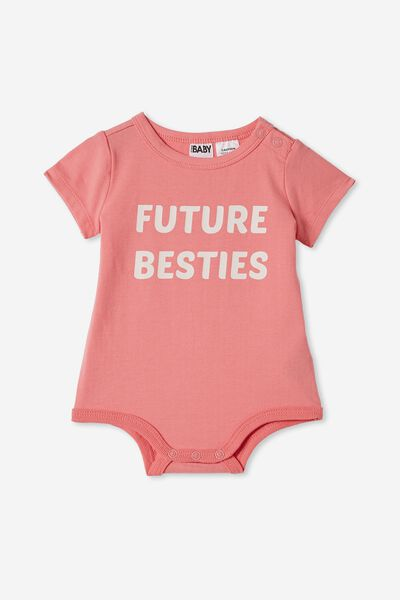 The Short Sleeve Bubbysuit, RETRO CORAL/CRYSTAL PINK FUTURE BESTIES