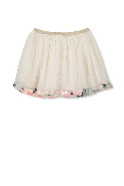 Trixiebelle Tulle Skirt, GOLD MILK/POM POMS