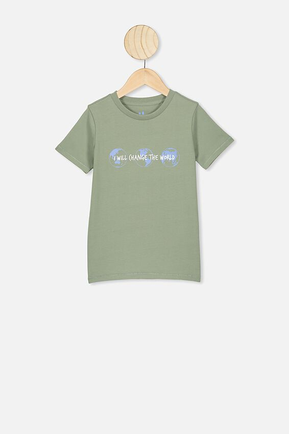 Max Short Sleeve Tee, SILVER SAGE/I WILL CHANGE THE WORLD