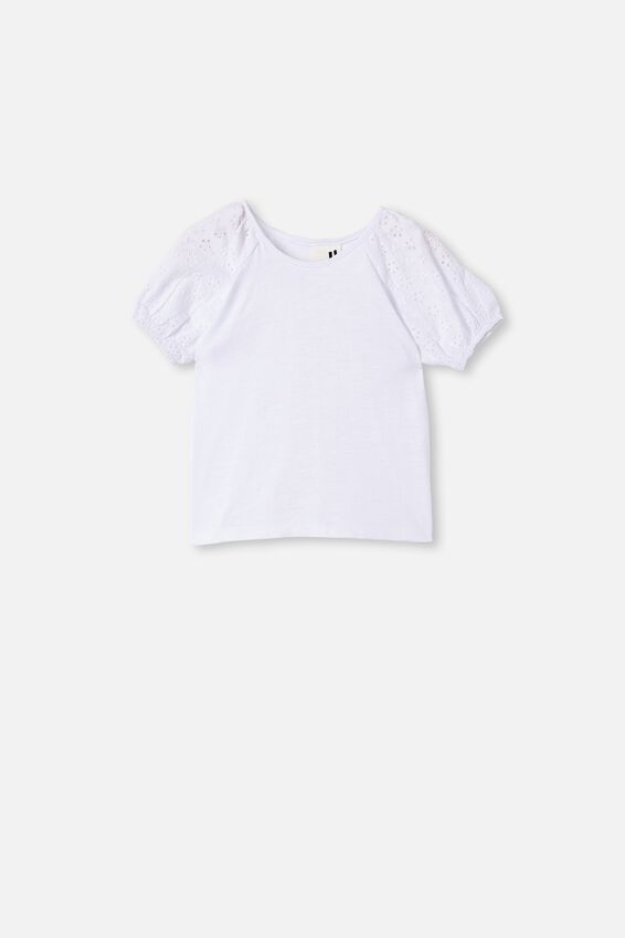 Isabella Puff Sleeve Top, WHITE