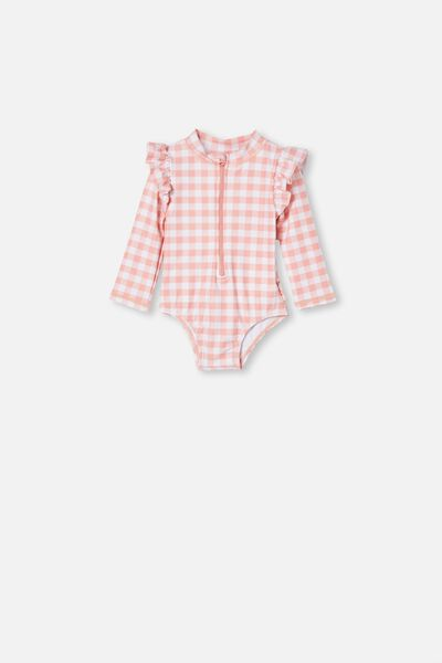 Lucy Long Sleeve Swimsuit, SMOKED SALMON/GINGHAM