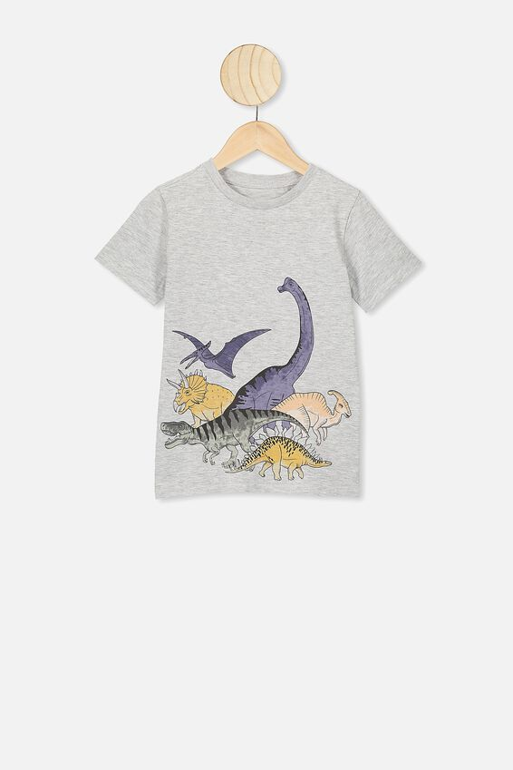 Max Short Sleeve Tee, SUMMER GREY MARLE/DINO FAMILY
