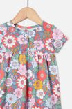 Milly Short Sleeve Dress, STEEL/CALI PINK RETRO FLORAL