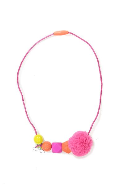 Beaded Pom Pom Necklace, PINK RAINBOW