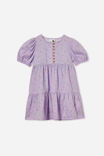 Meredith Short Sleeve Dress, VINTAGE LILAC/SMALL FLOWERS