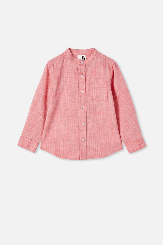Grandpa Collar Prep Shirt, LUCKY RED OXFORD