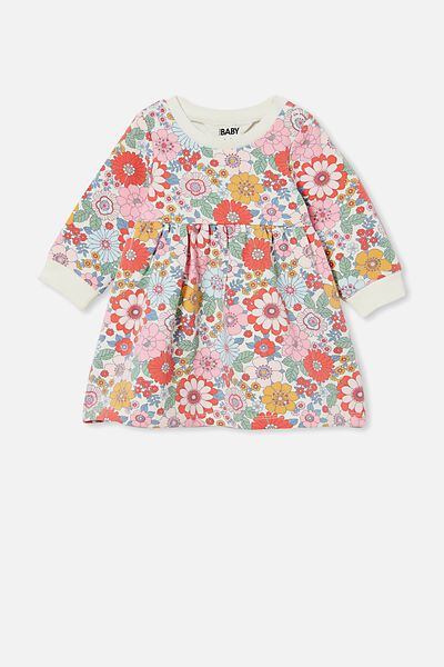 Tina Fleece Dress, VANILLA/CALI PINK RETRO FLORAL