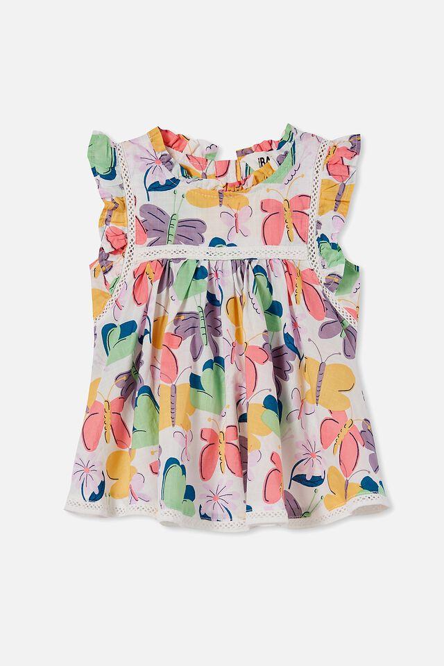 Tess Flutter Sleeve Dress, VANILLA/PAPAYA BEATRICE BUTTERFLY