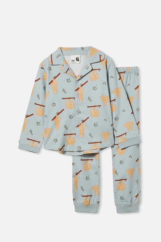William Long Sleeve Pyjama Set, SLOTH/STONE GREEN WOVEN