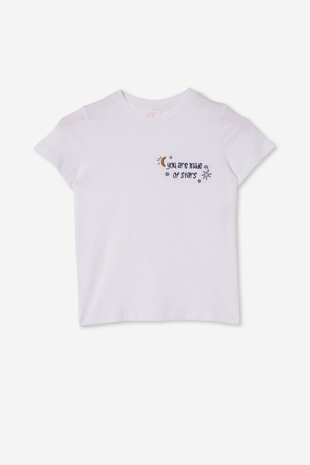Penelope Short Sleeve Tee, WHITE/YOU ARE MADE OF STARS