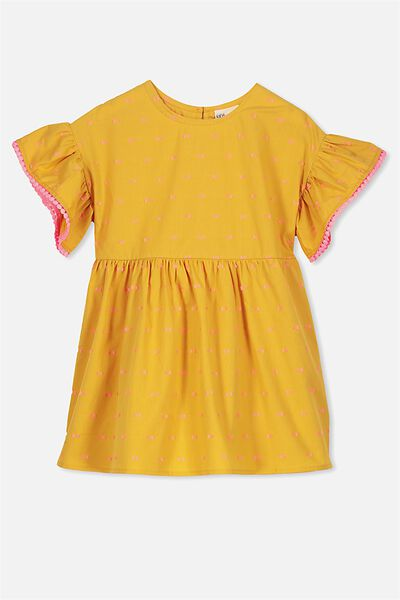 Dakota Short Sleeve Dress, MINERAL YELLOW DOBBY