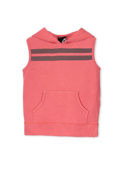 Boys Active Sleeveless Hoodie, SOPHIE RED/STRIPE