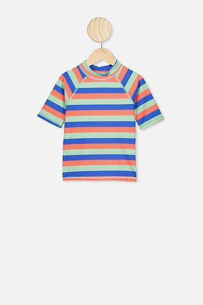 Finley Short Sleeve Rash Vest, BLUE/ORANGE STRIPE