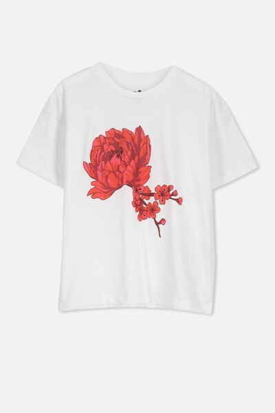 Penelope Ss Loose Fit Tee, WHITE/BLOSSOM