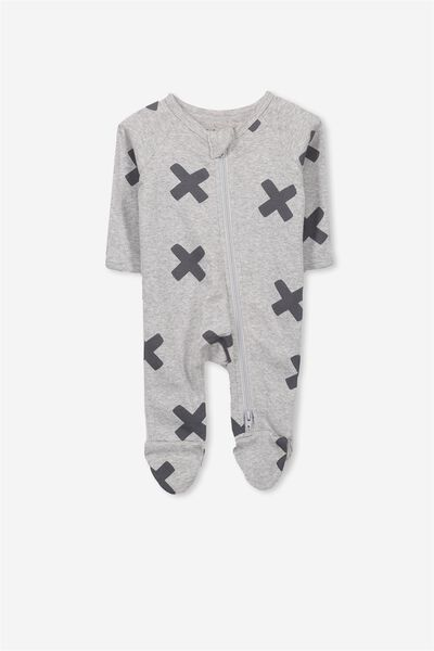 Newborn Long Sleeve Zip Through Romper, LIGHT GREY MARLE/LARGE CROSSES